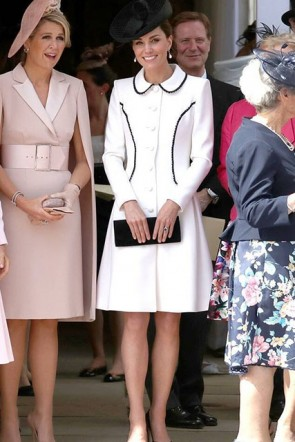 Kate Middleton White Coat Cocktail Dress Order Of the Garter Service