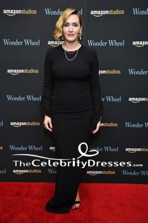 Kate Winslet - Robe de soirée noire à manches longues «Wonder Wheel» New York Screening
