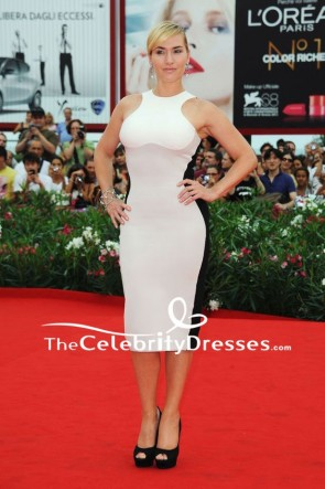 Kate Winslet White And Black Two-tone Short Bodycon Dress 2011 Venice Film Festival