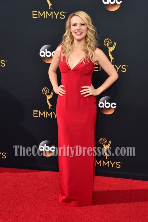 Kate McKinnon Red Deep V-neck Evening Dress 68th Annual Primetime Emmy Awards 3