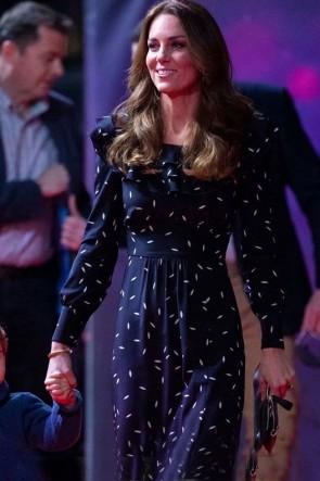 Kate Middleton Black Floral Midi Dress