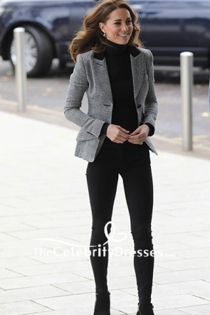 Kate Middleton Blazer Gris Manteau À Manches Longues 2019