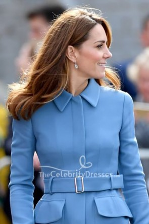 Kate Middleton Blue Belt Coat 2019