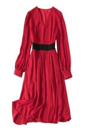 Kate Middleton Robe courte bordeaux à manches TCD8876