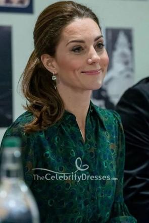 Kate Middleton - Robe chemise à imprimé paon vert foncé