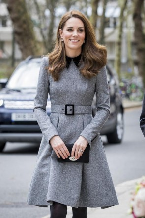 Kate Middleton Gray Wool Knee Length A-line Ruffles Prom Dress 2019