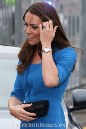 Kate Middleton Elegant Knee Length Blue Cocktail Dresses