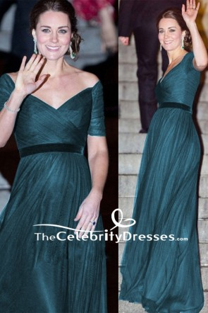 Kate Middleton Ruffled Off-the-shoulder Formal Long Dress St. Andrews Met Dinner