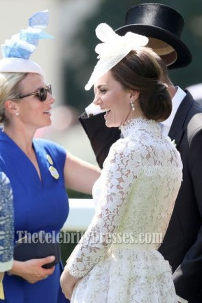 Kate Middleton Robe de cocktail blanche à manches longues Royal Ascot 2017