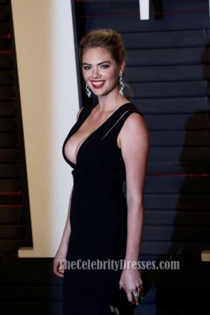 Kate Upton Vanity Fair Soirée Oscar 2016 Gaine noire soirée robe de bal robe rouge tapis