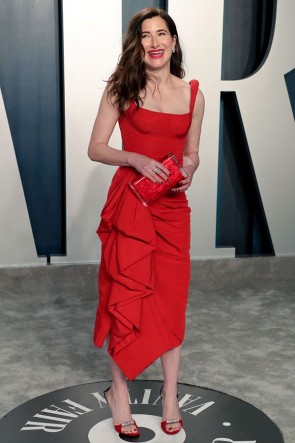 Kathryn Hahn Red Ruffled Cocktail Dress 2020 Vanity Fair Oscar Party