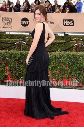 Kathryn Hahn noir Deep V-cou Ruffle soirée robe de bal 2016 SAG Awards