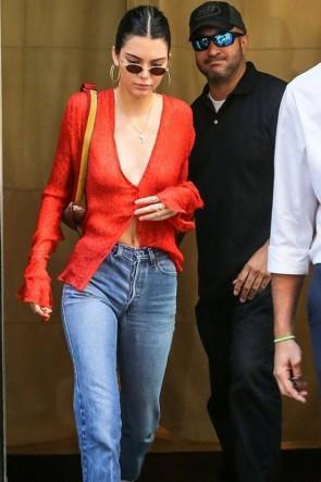 Kendall Jenner Sexy Deep V-Neck Orange Print Blouse