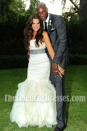 Celebrity Wedding Khloe Kardashian and Lamar Odom Mermaid Wedding Dress Bridal Gown