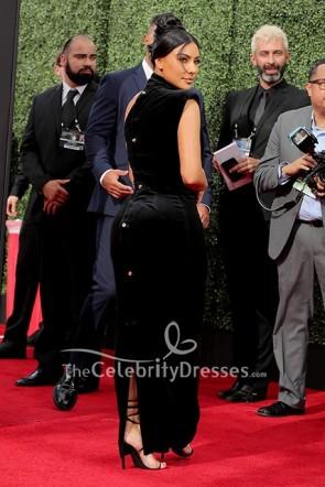 Kim Kardashian Black One Shoulder Dress 2019 Creative Arts Emmy Awards  TCD8640