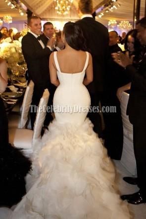 kim kardashian Ivory sirène robe de mariée robe de mariée.
