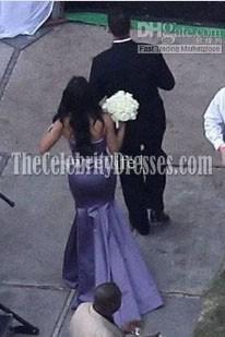 Kim Kardashian violet robe de demoiselle d'honneur de sirène