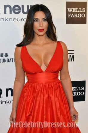 Kim Kardashian Red Evening Dress Elton John's Oscars party