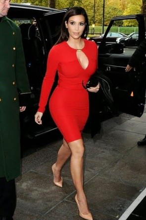 Kim Kardashian Red Short Long Sleeve Bandage Cocktail Party Dresses