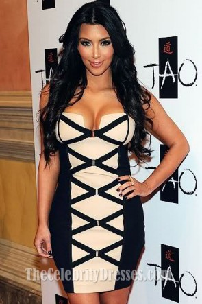 Kim Kardashian Sexy Short Strapless Bandage Dress Party Dress