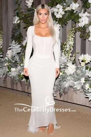 Kim Kardashian White Mermaid Square Neck Evening Dress With Long Sleeves