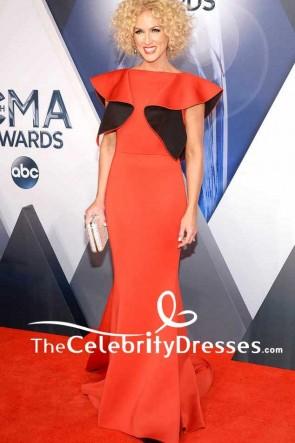 Kimberly Schlapman Ruffled Mermaid Long Evening Dress 2015 CMA Awards