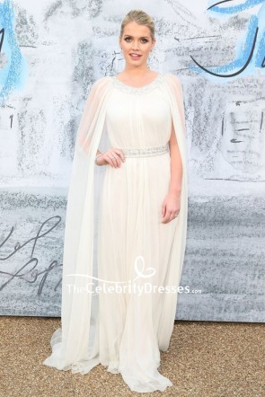 Kitty Spencer Ivory Capped Formal Dress 2019