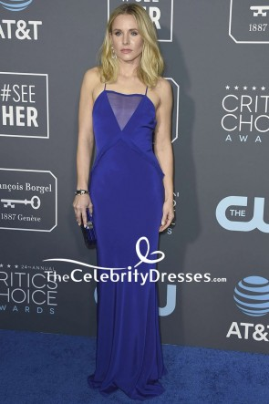 Kristen Bell Royal Blue Evening Dress With Spaghetti Straps 2019 Critics' Choice Awards