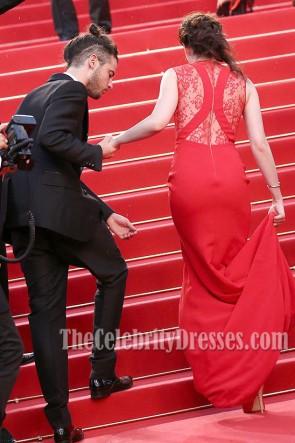 Kristen Stewart Robe de Soirée Rouge à Col en V Robe de Soirée Rouge Cannes 2012