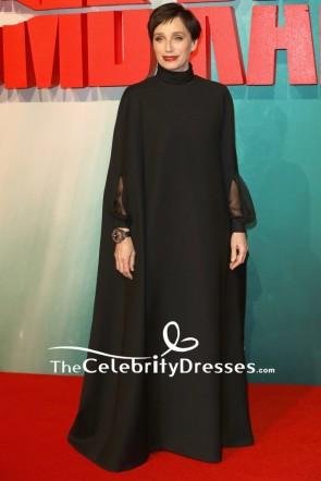 Kristin Scott Thomas Black Caped Sleeves Long Evening Formal Dress European Premiere Of Tomb Raider