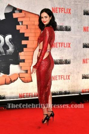 Krysten Ritter New York Premiere de The Defenders paillettes rouge foncé découpé gaine robe de fête