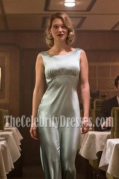 LÉA SEYDOUX Slinky Sea Foam Green Sheath Long Evening Gown Movie Spectre 007