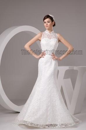 Lace High Neck Sweep Brush Train Wedding Dresses