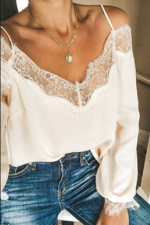 White Lace Panel Off Shoulder Blouse