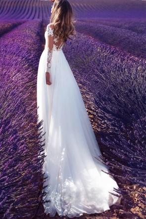 White Off-the-Shoulder Lace Applique A-Line Dress