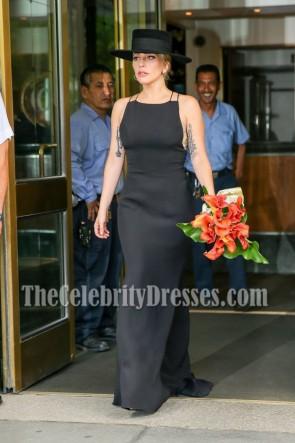 Lady Gaga Black Spaghetti Straps Evening Long Prom Gown 4