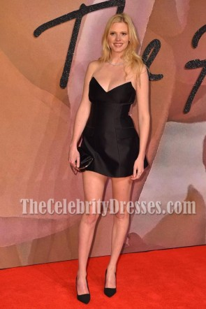 Lara Stone Black Strapless Mini Dress Fashion Awards 2016 1