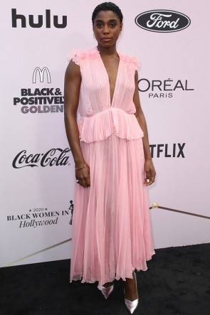 Lashana Lynch Pink Pleated Cocktail Dress 2020 Essence Black Women
