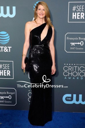 Laura Dern Black Cut Out Sequined Sheath Dress Critics' Choice Awards 2019