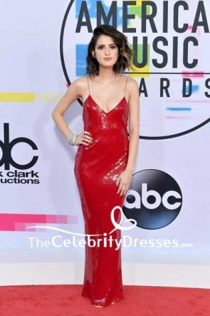 Laura Marano Red Sequins Spaghetti Strap Slip Evening Dress 2017 American Music Awards