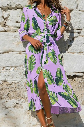 Leafy Sashes Shirt Dress