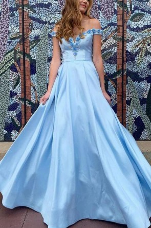 Light Sky Blue Off-the-shoulder Ball Gown