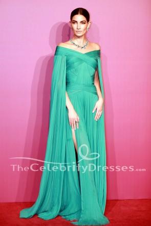 Lily Aldridge vert robe de soirée Bvlgari Festa High Jewelry événement coiffé robe