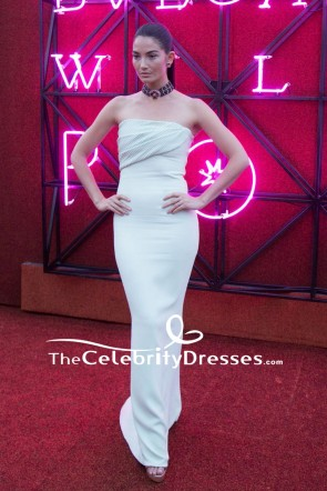 Lily Aldridge White Strapless Sheath Evening Dress Bvlgari Dinner And Party