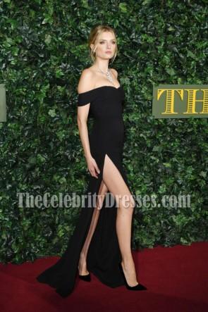 Lily Donaldson - Robe de soirée noire décolletée à la soirée London Evening Standard Theater Awards 2016
