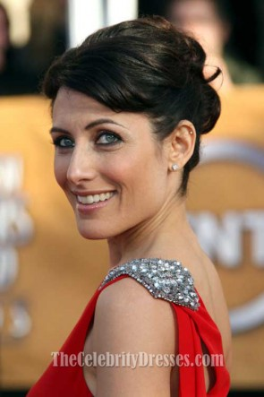 Lisa Edelstein Red Formal Dress 15th Annual Screen Actors Guild Awards