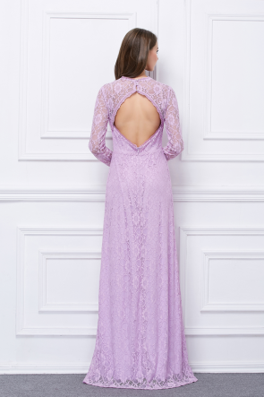 Long Sleeves Lilac Lace Cut Out Side Slit Evening Dresses TCDBF455