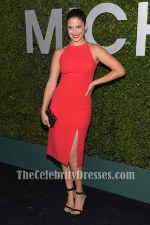 Lorenza Izzo Watermelon Cocktail Party Dress Michael Kors Launch