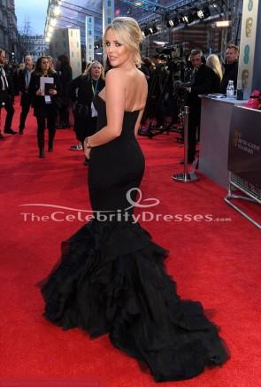 Lydia Bright 2018 BAFTAs robe de sirène noire sans bretelles robe de tapis rouge