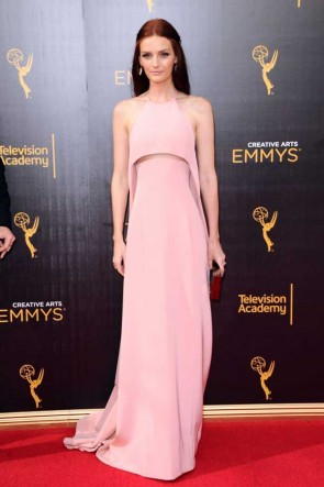 Lydia Hearst Pearl Pink Halter Backless Evening Prom Dress Creative Emmys 2016